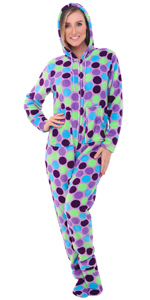 womens printed hooded footed pajamas
