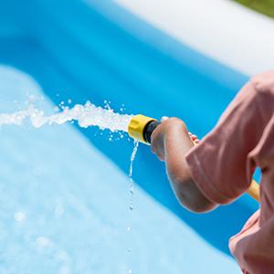 cleaning filter, pool filter, filling pool, garden hose pool