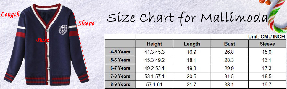 Size chart fo this sweater