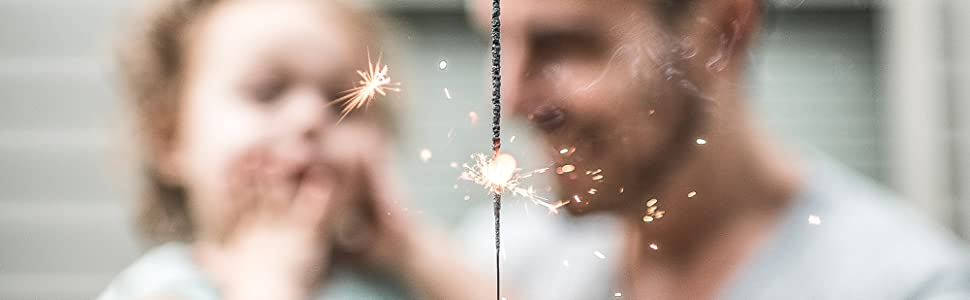 father daughter babygirl birthday sparklers parents