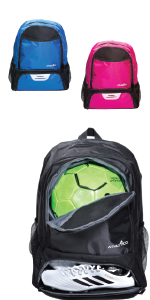 Athletico Youth Soccer Backpack in black, blue, or magenta pink