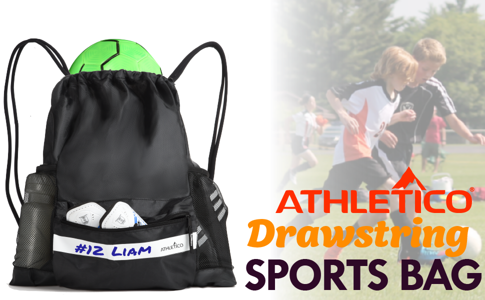 Athletico Drawstring Soccer Bag Sports Backpack, black with write-on name tag, cushioned straps