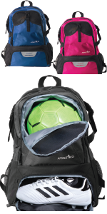 Athletico National Soccer Backpack in black, blue, or magenta