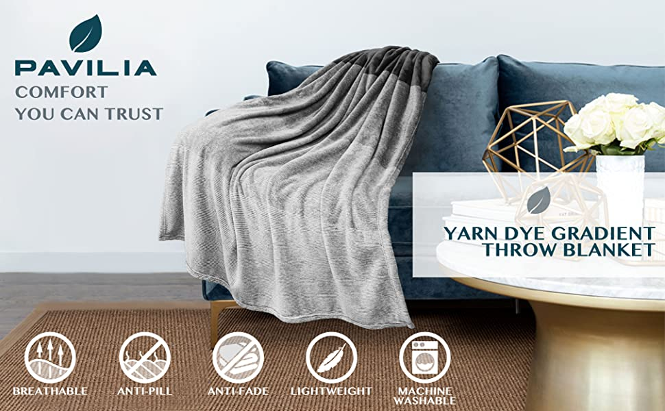 Throw Blanket yarn dye gradient ombre blanket for sofa couch