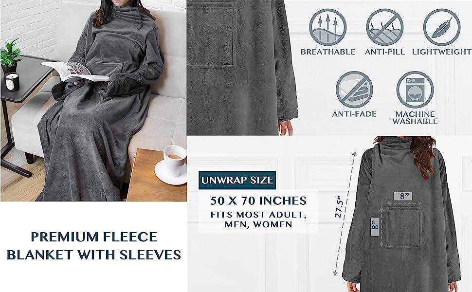 Premium fleece wearable blanket throw