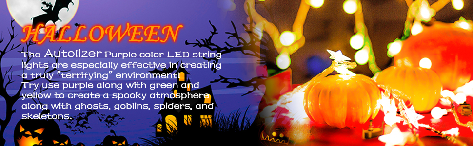 Autolizer Halloween Fairy lights room decor blacklight with battery operated twinkling orange purple
