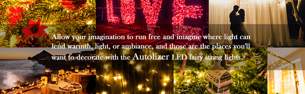 Autolizer LED fairy light string wedding decorations for reception, patio exterior outdoor wall