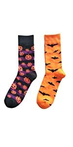 Halloween Holiday Pumpkins Bats Printed Long Socks