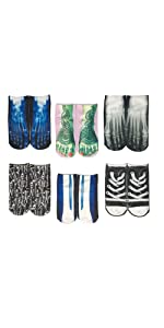 3D Multi Pattern Novelty Cotton Ankle Socks Pack