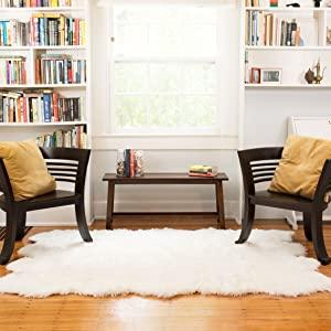 White Fake Fur Sheepskin Area Rug in Room Setting for Bedroom Den Living Room Reading Room Washable