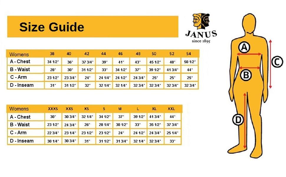 janus size chart