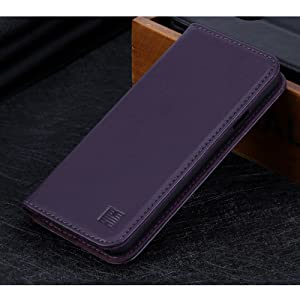 LG G7 ThinQ 'Classic Series' real leather wallet case cover available in aubergine
