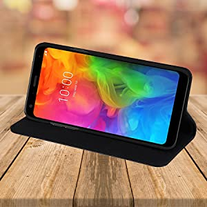 LG G7 ThinQ 'Classic Series' real leather wallet case cover stand feature
