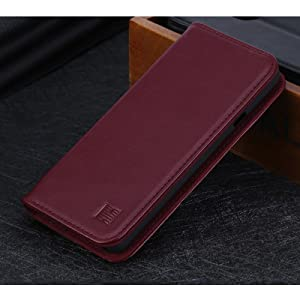 LG G7 ThinQ 'Classic Series' real leather wallet case cover available in burgundy