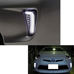 iJDMTOY Clear Lens LED DRL/Turn Signal Lights For 2012-2015 Toyota Prius (LCI Facelift Models)