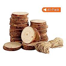 Joy-Leo 2-3 Inch Unfinished Natural Wood Slices - 40 Pack