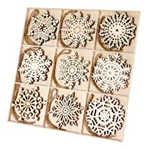 Joy-Leo 4 Inch Wooden Snowflakes Cutouts Christmas Ornaments - 27 Pack