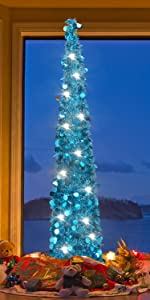 Joy&Leo 5 Foot Blue Tinsel Tree with Shiny Sequins