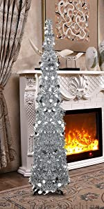 Joy&Leo 5 Foot Silver Tinsel Tree with Shiny Sequins