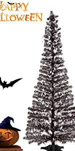 Joy&Leo 5 Foot Tinsel Halloween Tree with Ghost Sequins