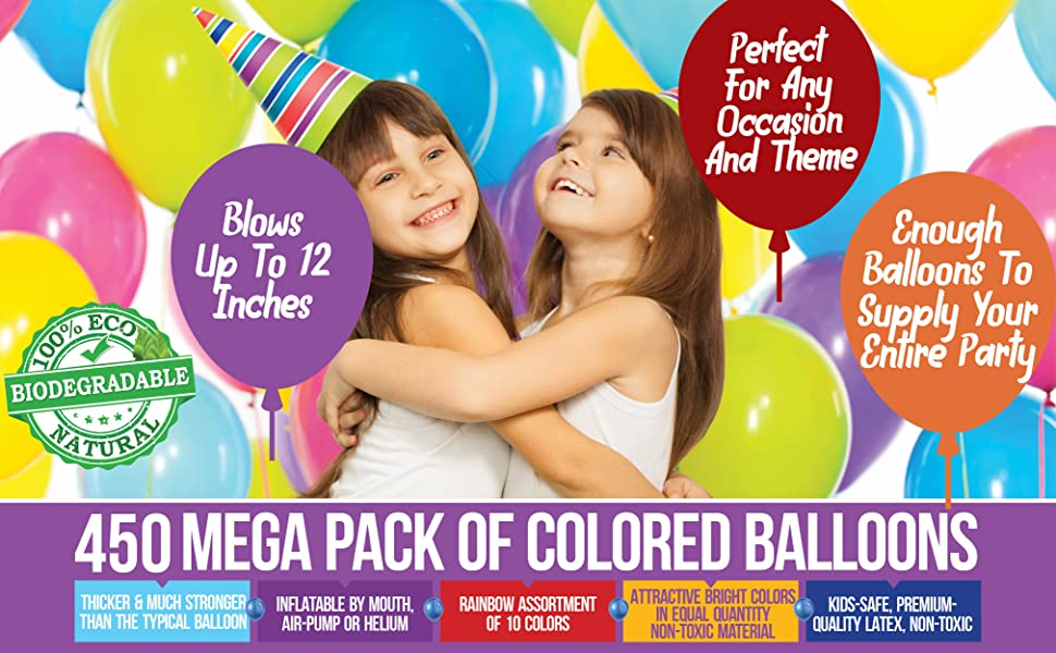 bulk party balloons parties supplies decor decoration 300 helium solid color latex pack balloon