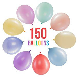 bulk party balloons parties supplies decor decoration 150 helium solid color latex pack pastel candy