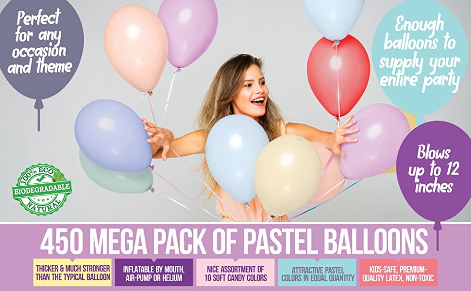 pastel color candy colors soft color bulk 500 balloon pack for party supplies arch decor baby shower