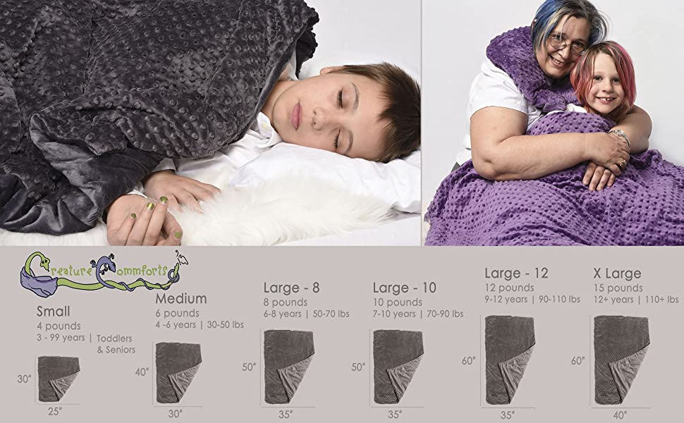 creature commforts weighted blanket 4 6 8 10 12 15 lbs for kids adults toddlers cover included