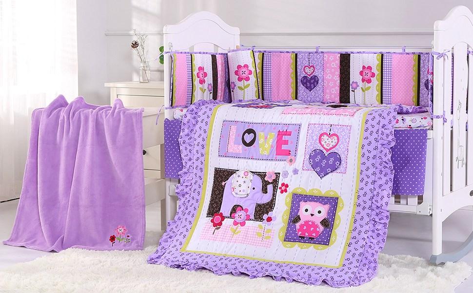 Purple-7 Piece Wowelife Purple Elephant Crib Bedding 100/% Cotton 7 Piece Elephant Baby Bedding for Baby
