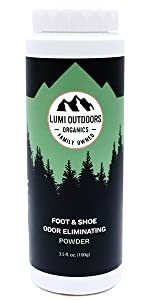lumi outdoors natural shoe deodorizer and foot powder odor eliminator