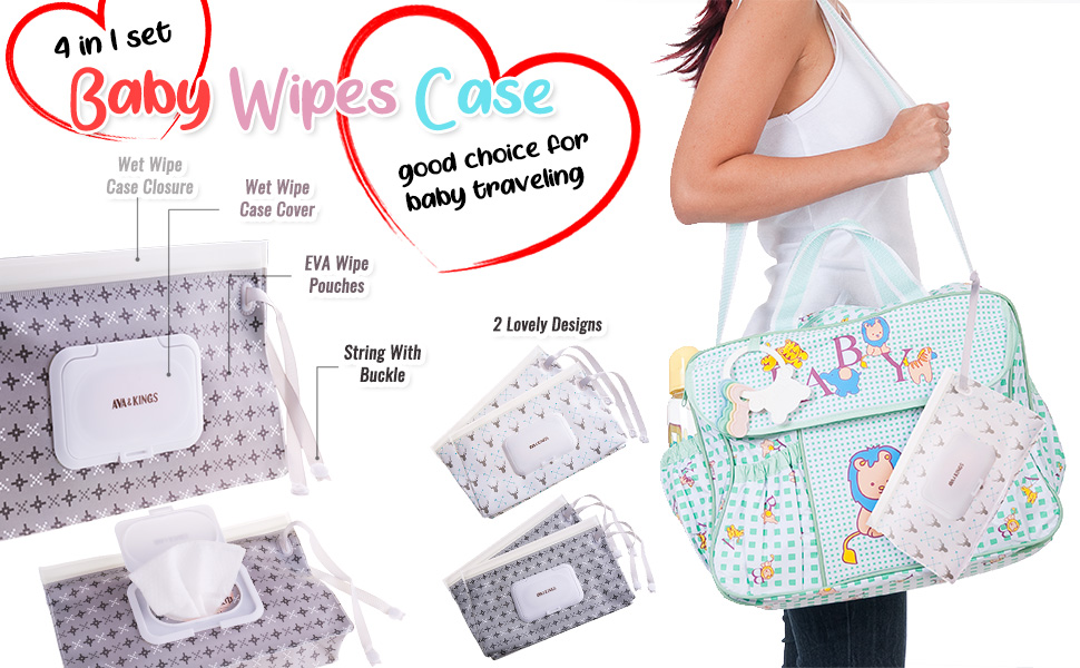 Ava & Kings 4pc Baby Wipe Carrying Travel Case w/ Button Strap Variety - White Arrow & Gray Pixel
