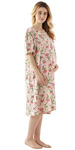 Pink Floral Women Maternity Dress K18027