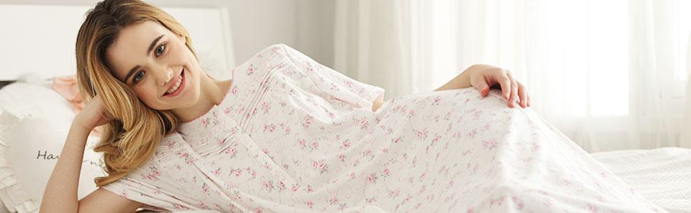 Short sleeve women nightgowns cotton