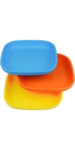 Flat plates; plates; plastic plates; plastic flat plates; children's flat plate;toddler's flat plate