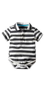 Baby Boy Striped Polo Bodysuits