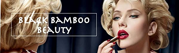 black bamboo beauty, makeup, cosmetics, lipstick, body glitter, gold body shimmer, face, eyes, lips