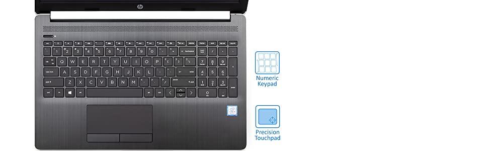 HP 15.6 inch touchscreen laptop keyboard focus image