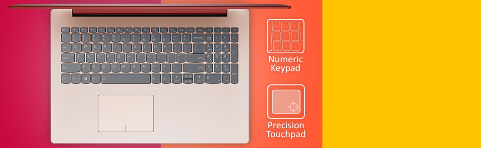 "Lenovo IdeaPad 330 15.6"" HD Notebook i3-8130U (RED) keyboard image with labels. numeric keypad"