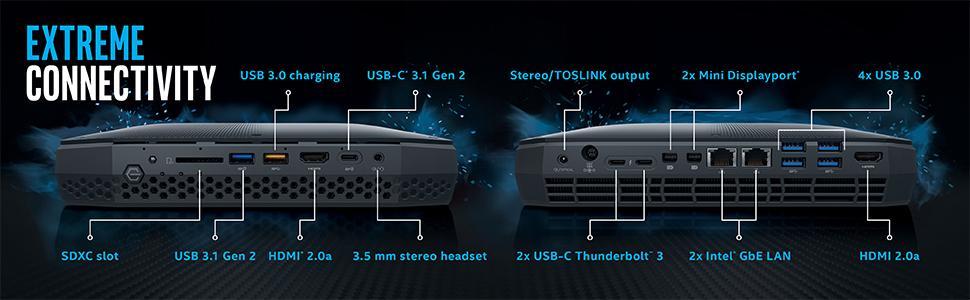 Intel NUC NUC8I7HVK VR Windows 10 Pro HDMI DisplayPort USB 3.1 Type-C Thunderbolt 3 SDXC HD Audio