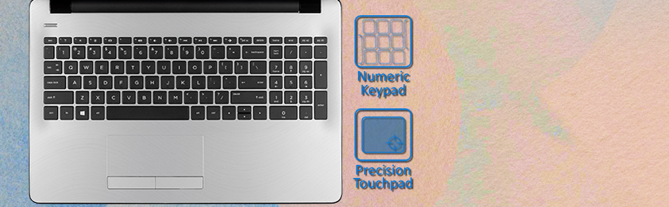 "HP 15 Notebook 15.6"" i3-7100U Windows 10 Pro keyboard highlight with numeric keypad & responsive pad"