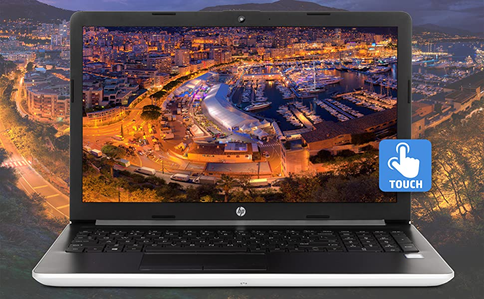 HP 15.6 inch touchscreen laptop front view with bold High Definition image and touchscreen badge