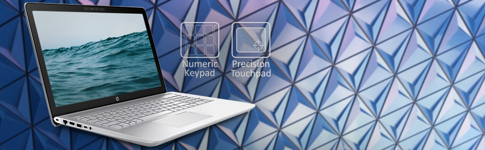 """HP Pavilion 15t Notebook Touch 15.6"""" IPS keyboard with icons and information."""
