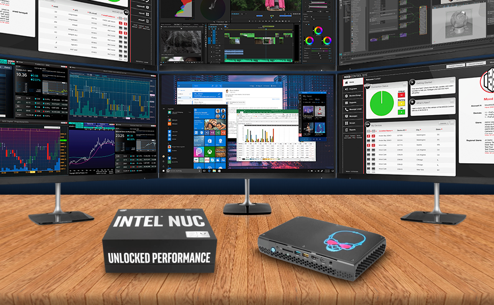 Intel NUC NUC8I7HVK VR Windows 10 Pro feature image with focus on multi-monitor support. 6 displays