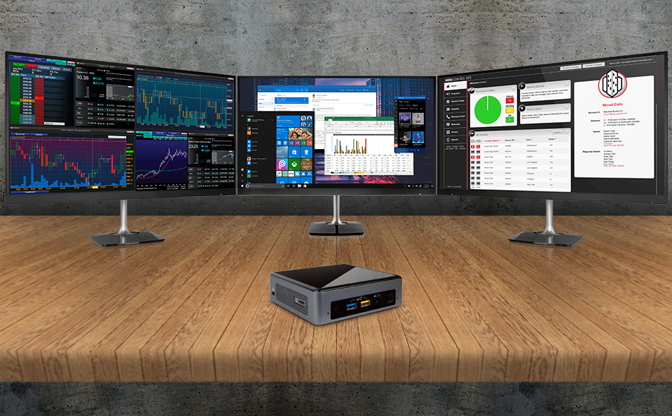 Intel NUC NUC8i5BEK Mini PC/HTPC i5 8th Gen multiple displays. 3 displays with triple monitors
