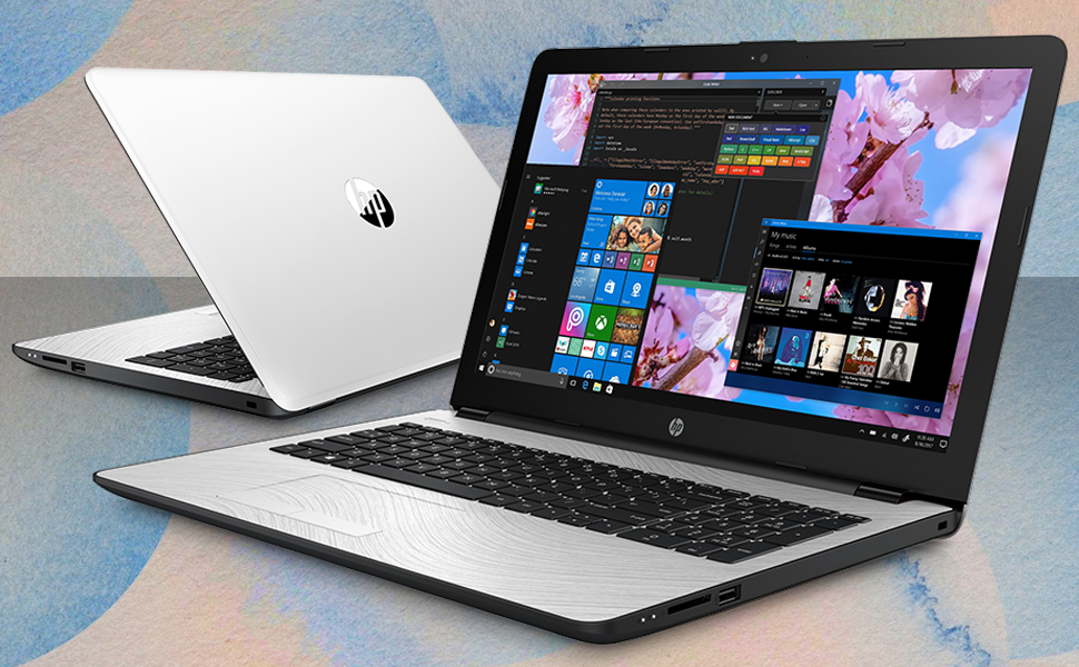 """HP 15 Notebook 15.6"""" i3-7100U Windows 10 Pro feature image with bright bold colors and cool graphics"""