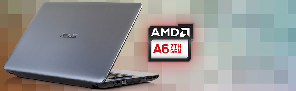 "ASUS X441BA 14"" Silver Laptop HD AMD A6-9225 Radeon R4-4GB CPU highlight"