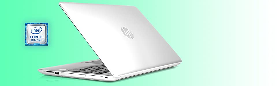 HP 15.6 inch touchscreen laptop back view with processor information. i5 8th gen