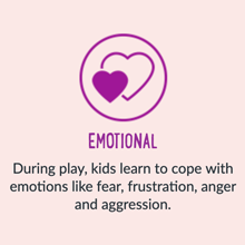 During play, kids learn to cope iwth emotions like fear, frustration, anger and aggression