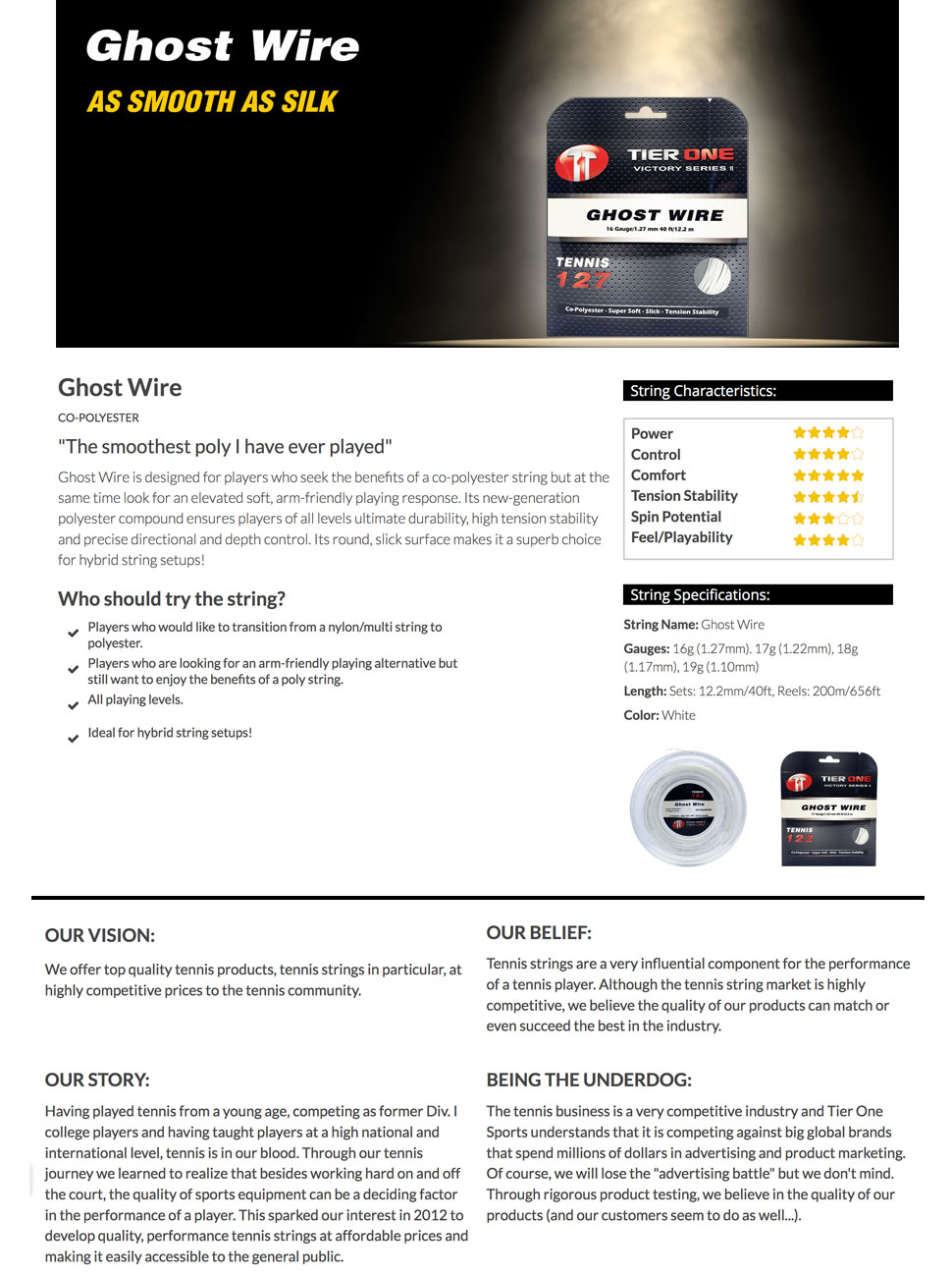 Tier One Sports, Ghost Wire, tennis string, racquet string, soft