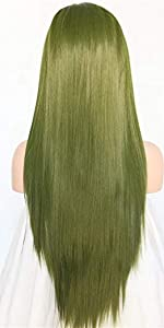 green straight wig